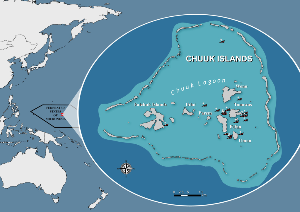 Map of Chuuk Lagoon showing the 19 PPWs identified as high environmental risk.