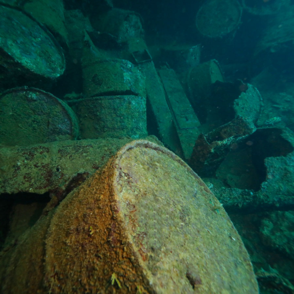 Fuel Barrels on wreck in chuuk